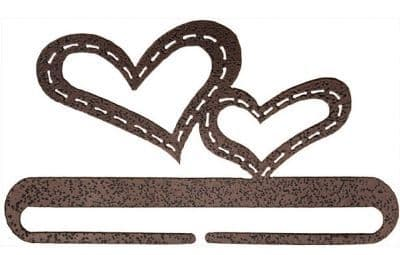 """Stitched Hearts 6"""" Copper Vein Metal Bellpull"""