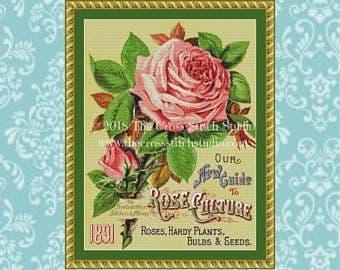 The Cross Stitch Studio 1891 Pink Rose Printed cross stitch chart