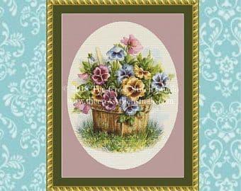 The Cross Stitch Studio Basket of Pansies Printed cross stitch chart