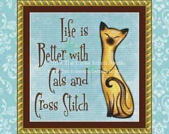 The Cross Stitch Studio Cats and Cross Stitch printed cross stitch chart