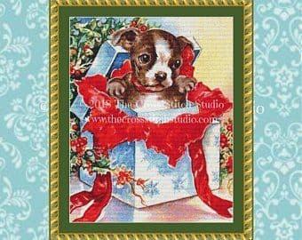 The Cross Stitch Studio Christmas Puppy printed cross stitch chart