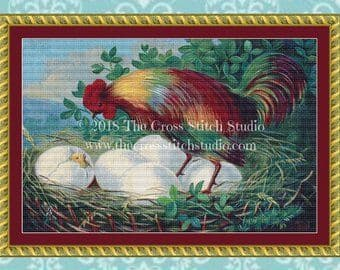 The Cross Stitch Studio Colorful Rooster printed cross stitch chart