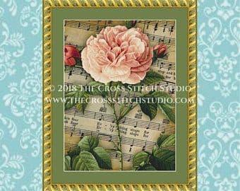The Cross Stitch Studio Musical Rose Printed cross stitch chart