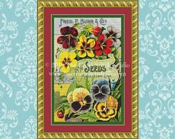 The Cross Stitch Studio Pansy Seed Packet Printed cross stitch chart