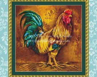 The Cross Stitch Studio Pop Art Rooster #1 printed cross stitch chart
