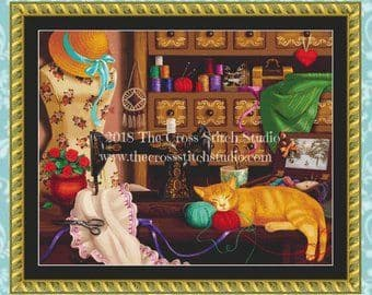 The Cross Stitch Studio Sewing Room Cat - Large printed cross stitch chart