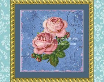 The Cross Stitch Studio Shabby Roses on Blue Printed cross stitch chart