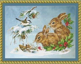 The Cross Stitch Studio Snow Bunnies printed cross stitch chart