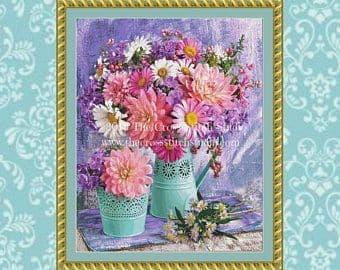 The Cross Stitch Studio Vibrant Bouquets Printed cross stitch chart