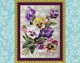 The Cross Stitch Studio Vicks Pansy Seeds Printed cross stitch chart