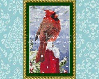 The Cross Stitch Studio Winter Cardinal printed cross stitch chart