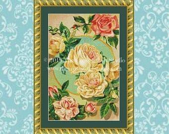 The Cross Stitch Studio Yellow Roses Printed cross stitch chart