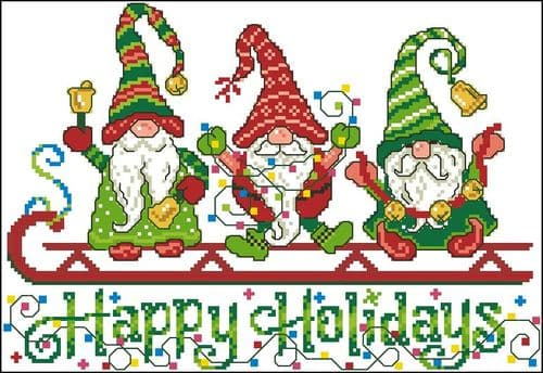 Ursula Michael Gnomes Happy Holiday cross stitch chart cross stitch chart