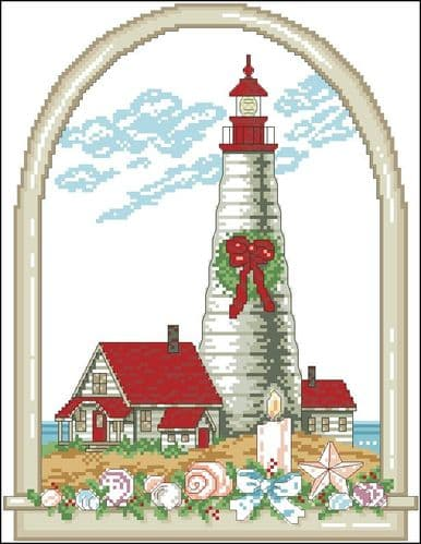 Ursula Michael Holiday Lighthouse cross stitch chart