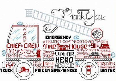 Ursula Michael Let's Appreciate Firemen cross stitch chart