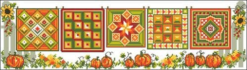 Ursula Michael Row of Autumn Quilts chart cross stitch chart