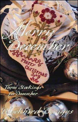 Blackbird Designs Three Stockings : December cross stitch chart