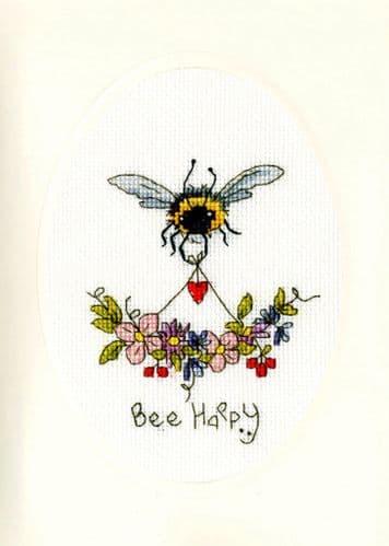 Bothy Threads Bee Happy card cross stitch kit