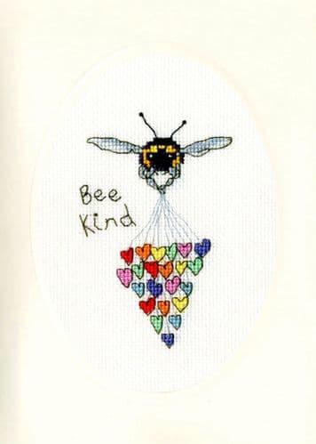 Bothy Threads Bee Kind card cross stitch kit