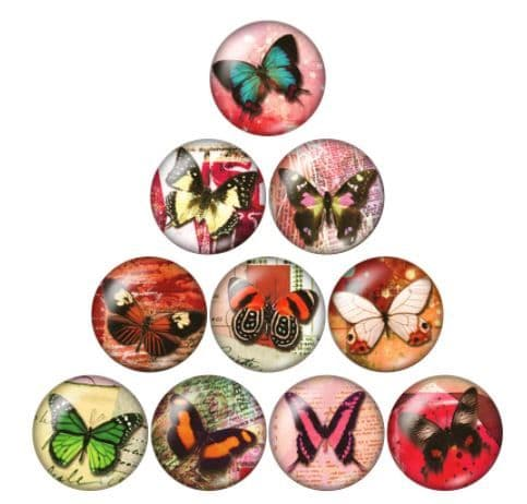 Butterfly 1 Glass Cabochon Dome Circular Needle Minder