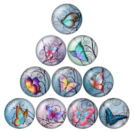 Butterfly 2 Glass Cabochon Dome Circular Needle Minder