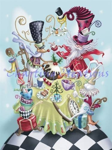 Charting Creations Festive Mad Hatter printed cross stitch chart