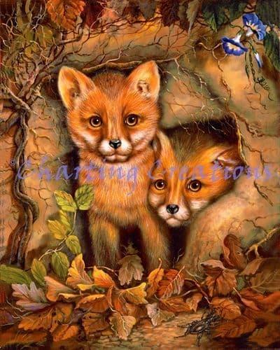 Charting Creations Fox Cubs printed cross stitch chart chart