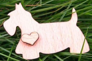 Dog with Heart wooden needle minder