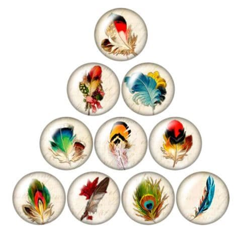 Feathers Glass Cabochon Dome Circular Needle Minder