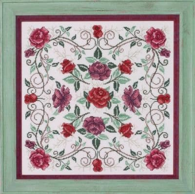 Glendon Place Rosaceae (the Rose Mandala) cross stitch chart