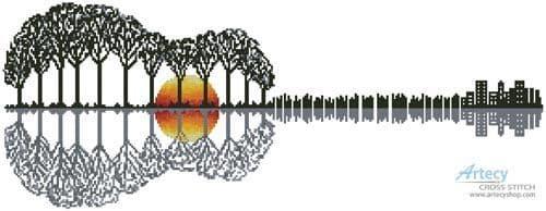 Guitar Landscape by Artecy cross stitch chart