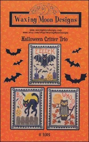 Halloween Critter Trio by Waxing Moon Designs printed cross stitch chart