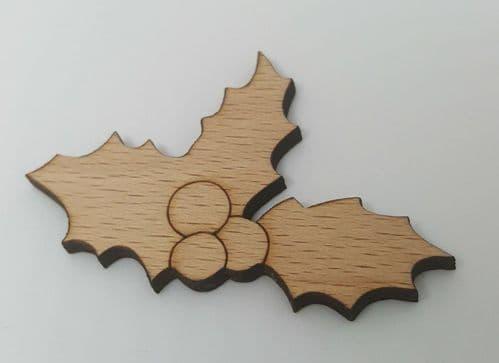 Holly Sprig wooden Needle Minder