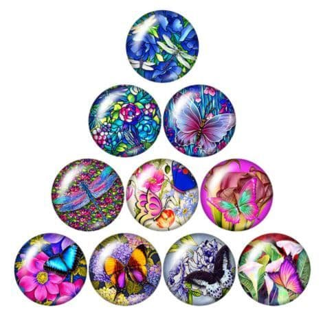 Jewel Insects Glass Cabochon Dome Circular Needle Minder