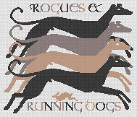 Long Dog Samplers Rogues & Running Dogs printed cross stitch chart - LD117