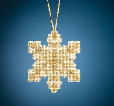Mill Hill Golden Snowflake beaded cross stitch kit