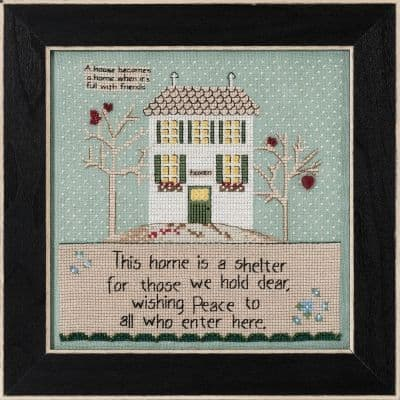 Mill Hill Home is a Shelter Curly Girl beaded cross stitch kit