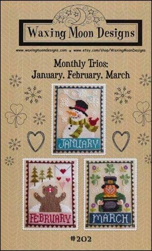 Monthly Trio: January, February, March by Waxing Moon Designs printed cross stitch chart
