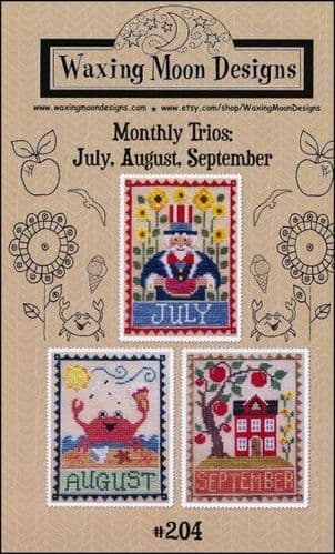 Monthly Trio: July, August, September by Waxing Moon Designs printed cross stitch chart