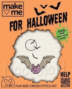 Mouseloft Bat Make Me for Halloween cross stitch kit