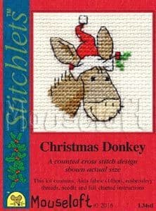 Mouseloft Christmas Donkey Card Christmas Stitchlets cross stditch kit