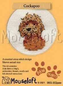 Mouseloft Cockapoo Paw Prints cross stitch kit