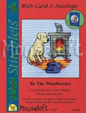 Mouseloft Dog by the Woodburner Card Christmas Stitchlets cross stitch kit