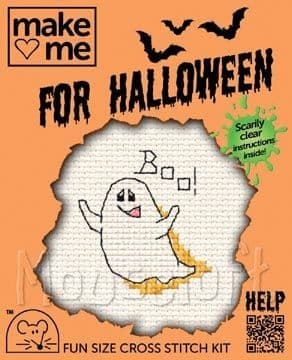 Mouseloft Ghost Make Me for Halloween cross stitch kit