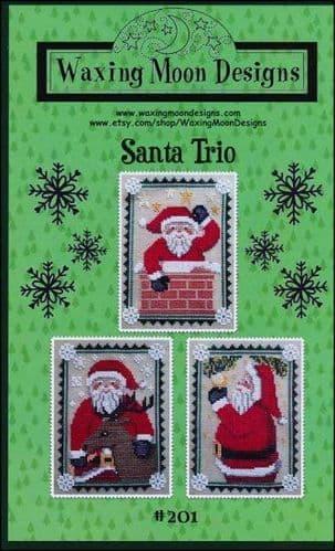 Santa Trio by Waxing Moon Designs printed cross stitch chart