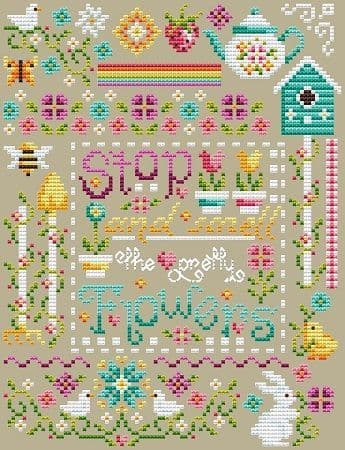 Shannon Christine Designs Pretty Flowers Sampler cross stitch chart