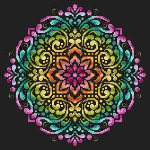 Shannon Christine Rainbow Mandala Full cross stitch chart