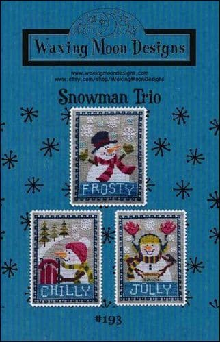 Snowman Trio by Waxing Moon Designs printed cross stitch chart