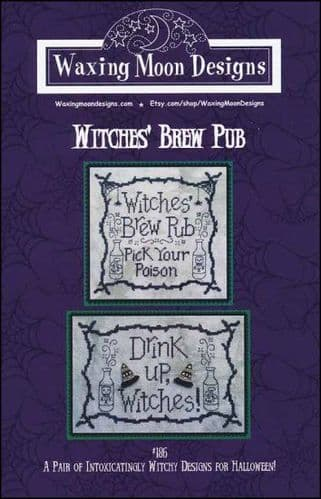 Witches Brew Pub by Waxing Moon Designs printed cross stitch chart