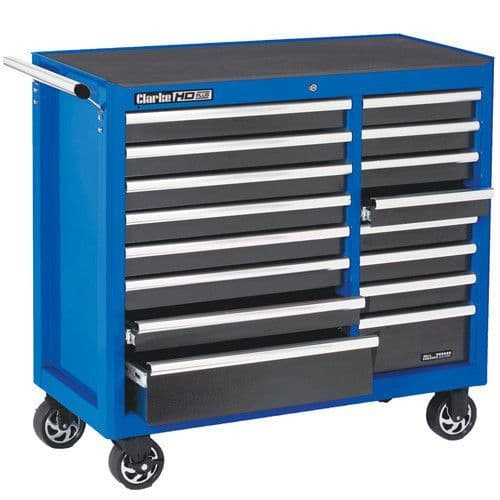 Clarke 7638085 CBB226BLB Extra Large HD Plus 16 Drawer Tool Cabinet Blue